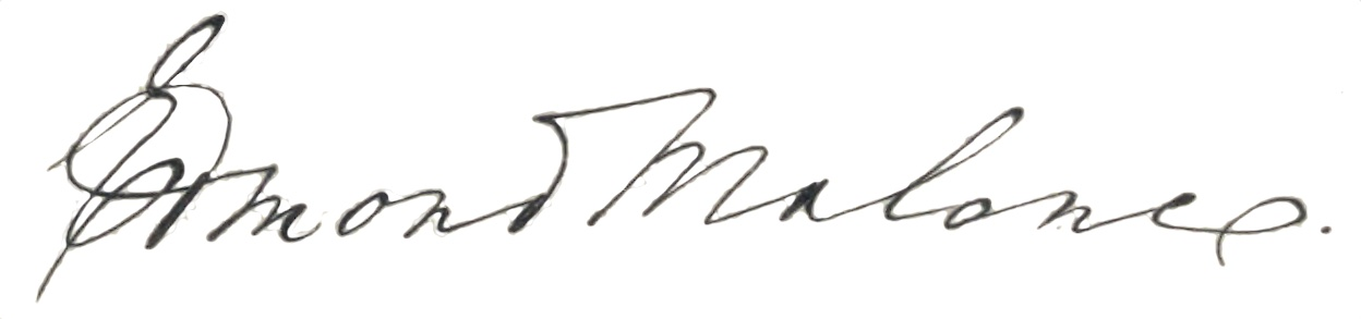 The signature of Edmond Malone.